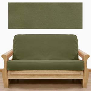 Twill Solid Olive Futon Cover
