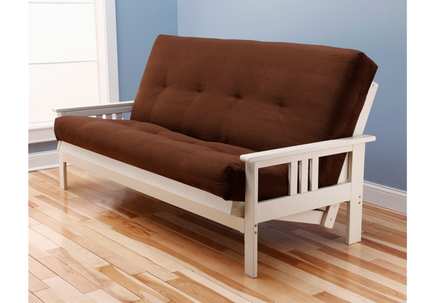 Mission Arm White Full Futon Frame With Mattress In Suede Chocolate