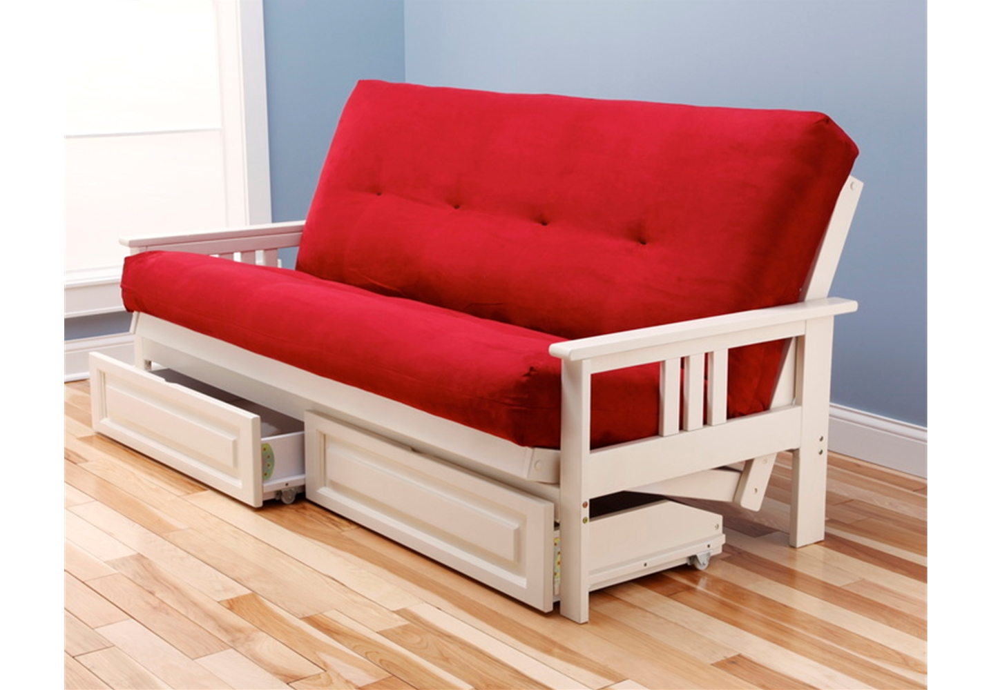 Mission Arm White Full Futon Frame With Mattress In Suede Red