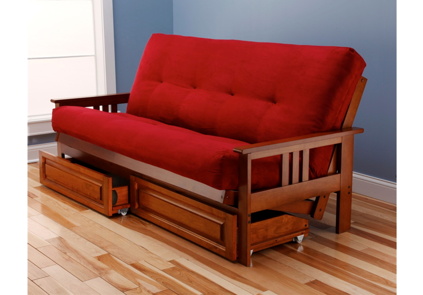 Barbados Mission Full Futon Frame with mattress in Suede Red - Buy ...