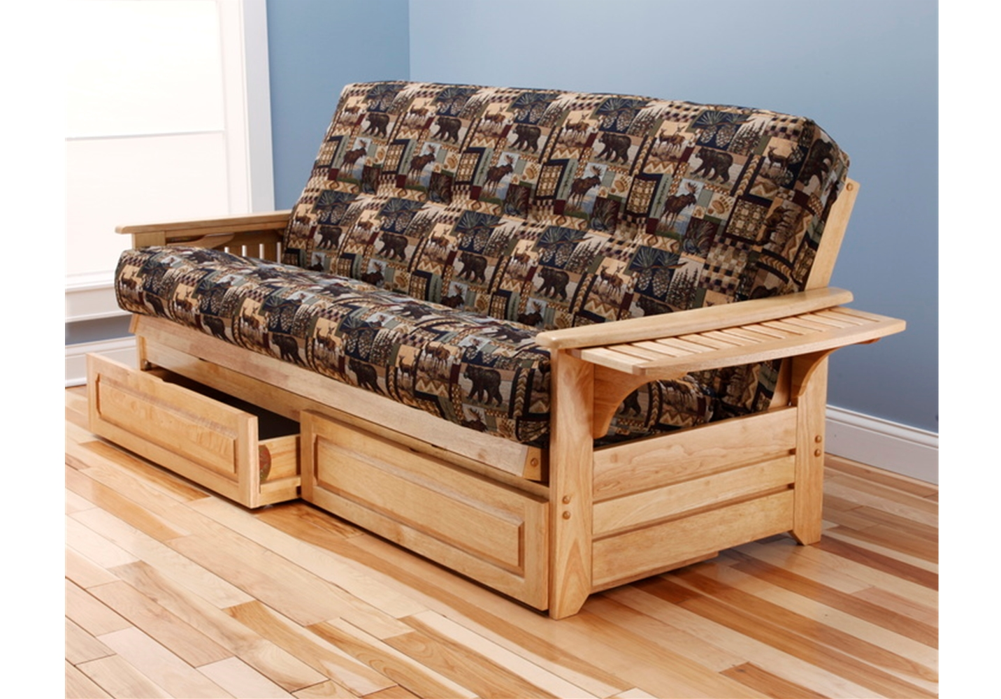 Natural Wood Tray Arm Full Futon Frame