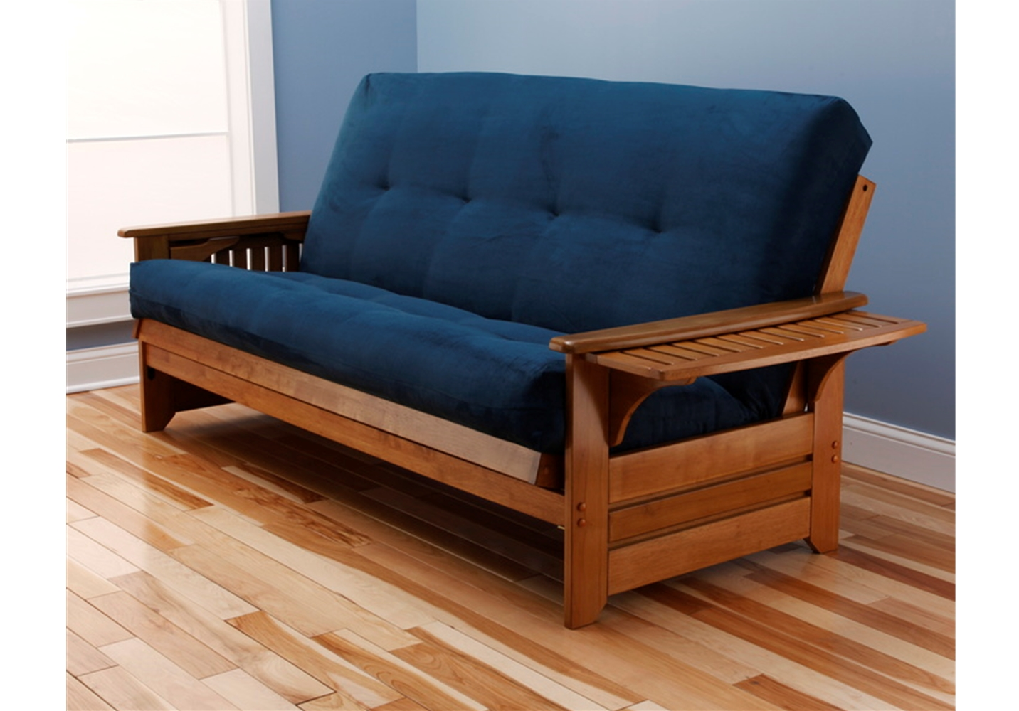 Tray Arm Ernut Full Futon Frame With Mattress In Suede Navy
