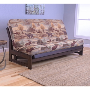 Low Arm Mocha Full Futon Frame with mattress in Canadian