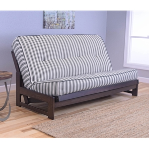 Low Arm Mocha Full Futon Frame with mattress in Cozumel Navy