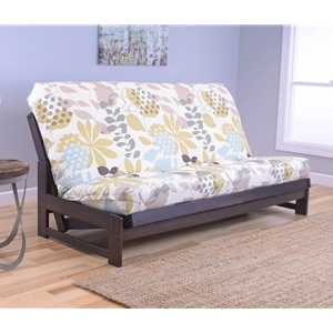 Low Arm Mocha Full Futon Frame with mattress in English Garden