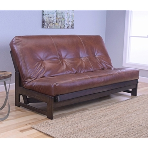 Low Arm Mocha Full Futon Frame with mattress in Oregon Trail Saddle