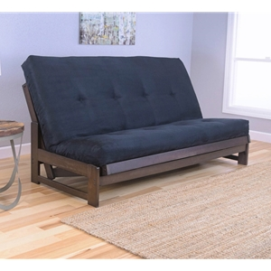 Low Arm Mocha Full Futon Frame with mattress in Suede Black