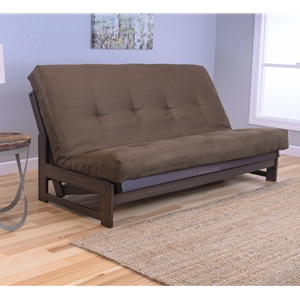 Low Arm Mocha Full Futon Frame with mattress in Suede Chocolate