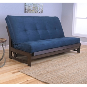 Low Arm Mocha Full Futon Frame with mattress in Suede Navy