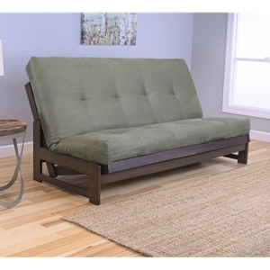 Low Arm Mocha Full Futon Frame with mattress in Suede Olive