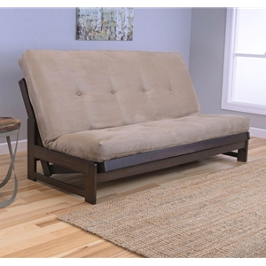 Low Arm Mocha Full Futon Frame with mattress in Suede Peat