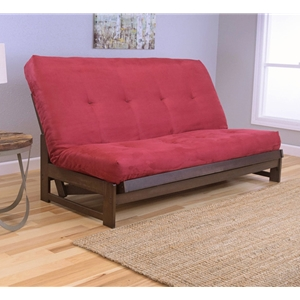 Low Arm Mocha Full Futon Frame with mattress in Suede Red