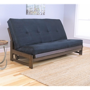 Low Arm Mocha Full Futon Frame with mattress in Twill Black