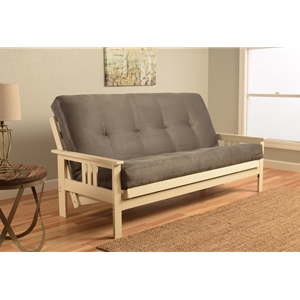 Mission Arm White Full Futon Frame with Suede Gray Mattress