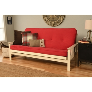 Mission Arm White Full Futon Frame with Velvet Fire Mattress