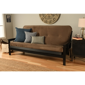 Mission Arm Black Full Futon Frame with Velvet Mudslide Mattress