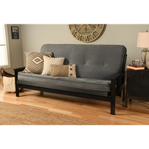 Mission Arm Black Full Futon Frame with Velvet Storm Mattress
