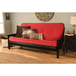 Mission Arm Black Full Futon Frame with Velvet Fire Mattress