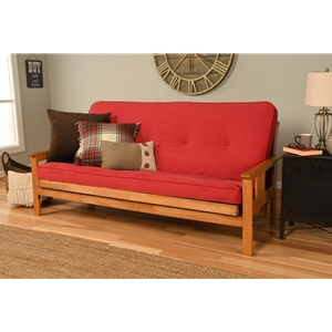 Mission Arm Butternut Full Futon Frame with Velvet Fire Mattress