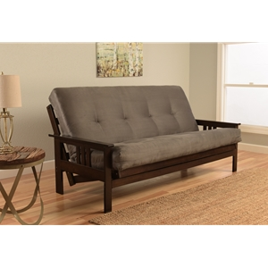 Mission Arm Espresso Full Futon Frame with Suede Gray Mattress