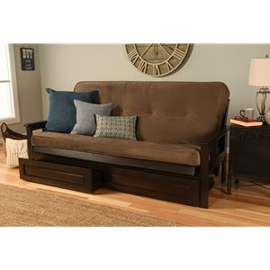 Mission Arm Espresso Full Futon Frame with Velvet Mudslide Mattress