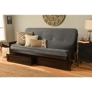 Mission Arm Espresso Full Futon Frame with Velvet Storm Mattress