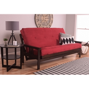 Mission Arm Espresso Full Futon Frame with Velvet Fire Mattress