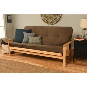Mission Arm Natural Full Futon Frame with Velvet Mudslide Mattress