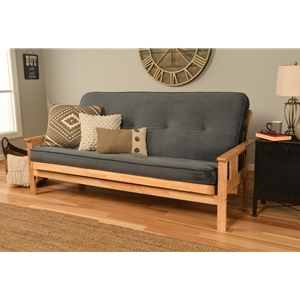 Mission Arm Natural Full Futon Frame with Velvet Storm Mattress