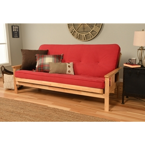 Mission Arm Natural Full Futon Frame with Velvet Fire Mattress