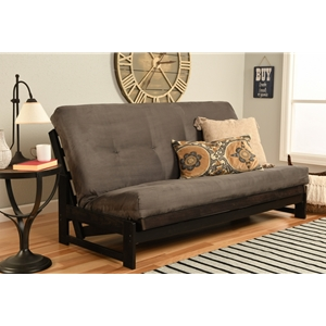 Low Arm Full Mocha Futon with Suede Gray Mattress