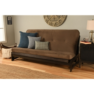 Low Arm Full Mocha Futon with Velvet Mudslide Mattress