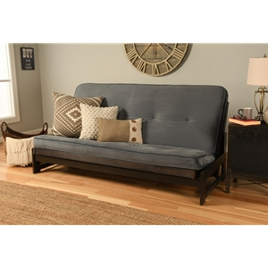 Low Arm Full Mocha Futon with Velvet Storm Mattress
