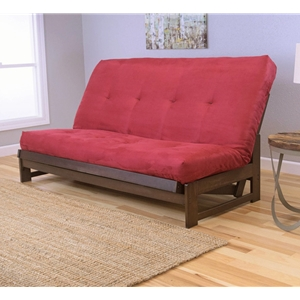Low Arm Full Mocha Futon with Velvet Fire Mattress