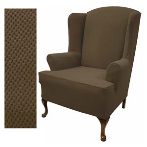 Stretch Pique Dutch Chocolate Wingback Slipcover 711