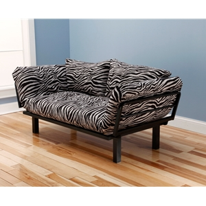 Metal Black Lounger with Zebra Zen Mattress and Back Pillow