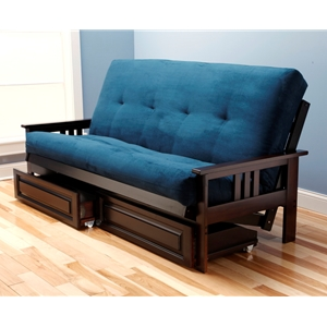 Mission Arm Espresso Full Futon Frame with mattress in Suede Navy