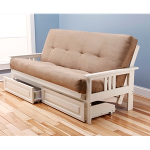 Mission Arm White Full Futon Frame with mattress in Suede Peat