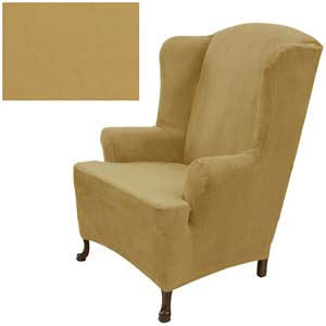 Stretch Suede Sand Wing Chair Cover 735
