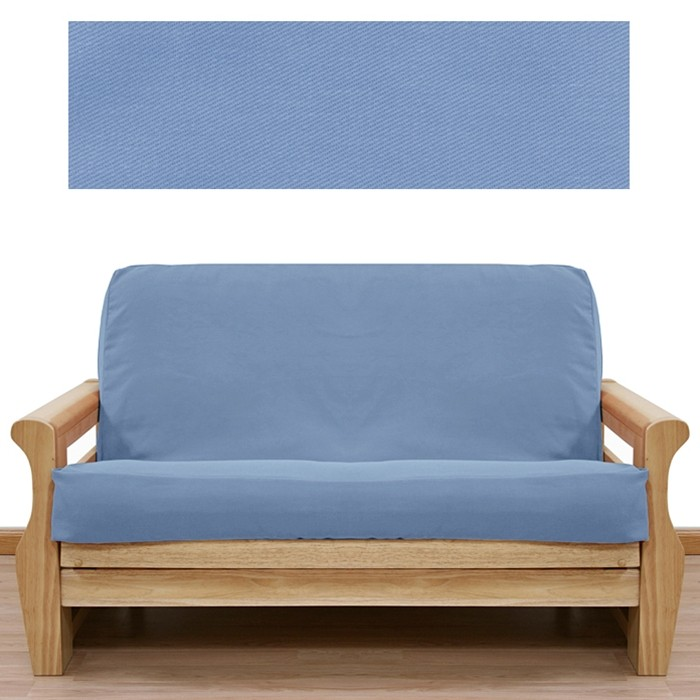 Admirable Solid Light Blue Futon Cover 401 Gmtry Best Dining Table And Chair Ideas Images Gmtryco