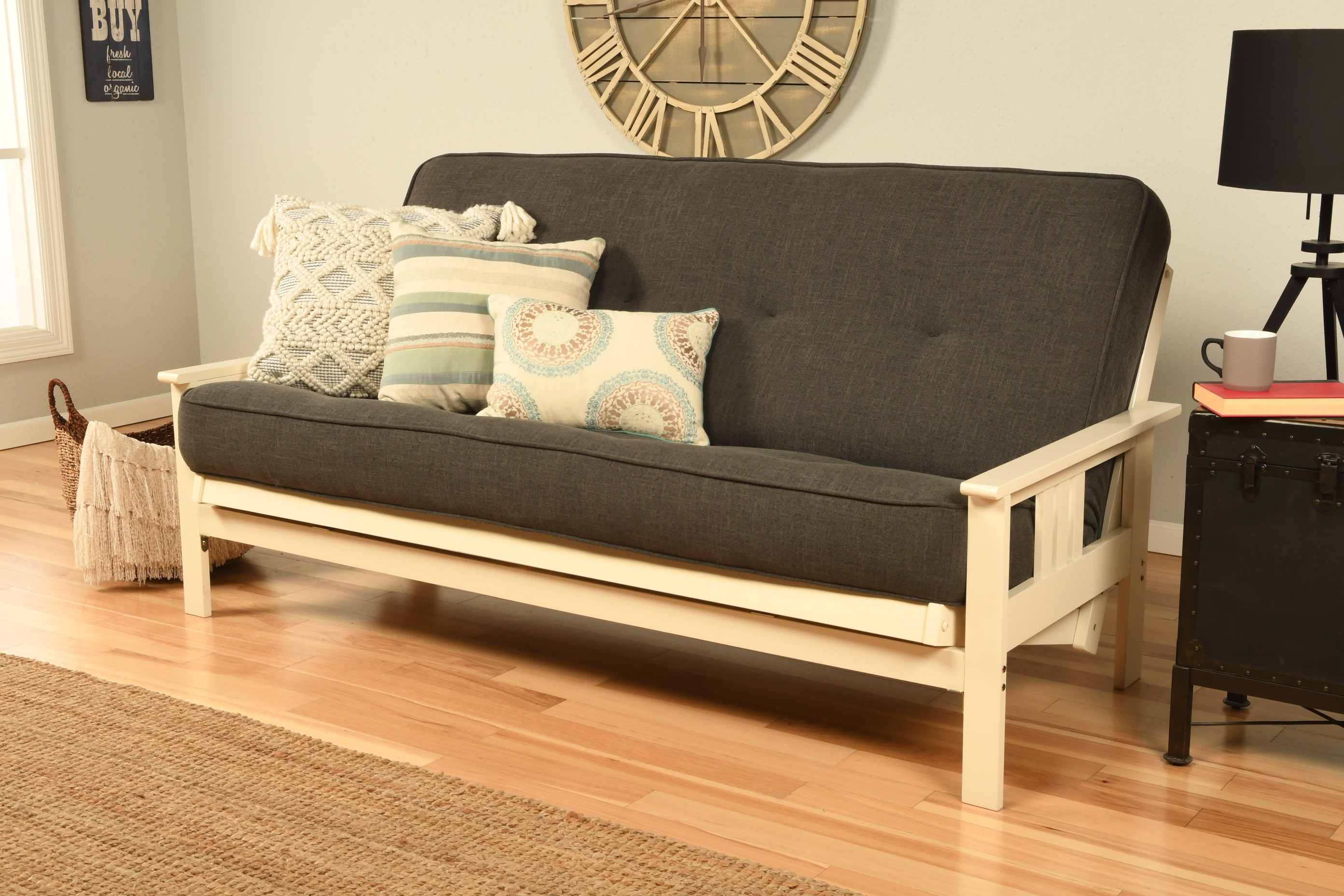 Mission Arm White Full Futon Frame With Linen Charcoal